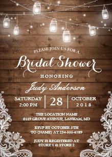 43134e54a9cb Mason Jars Lights Rustic Wood Lace Bridal Shower Invitation