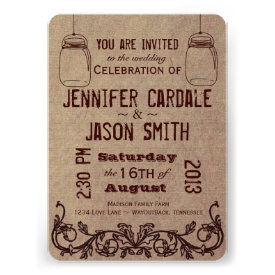 Mason Jars Rustic Country Wedding Invitations Personalized Announcement