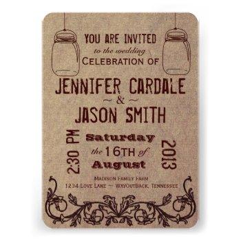 Mason Jars Rustic Country Wedding Invitations