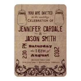 Mason Jars Rustic Country Wedding Invitations 4.5