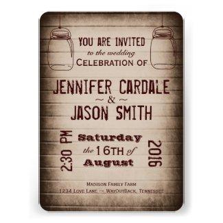 Mason Jars Rustic Country Wood Wedding Invitations