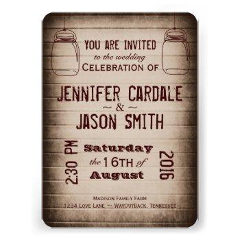 Mason Jars Rustic Country Wood Wedding Invitations Invites