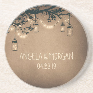 Mason Jars Rustic Fireflies Wedding Sandstone Coaster