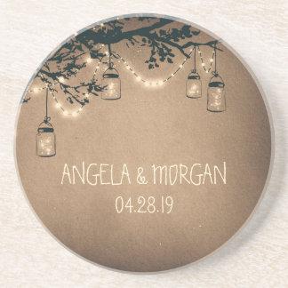 Mason Jars Rustic Fireflies Wedding Sandstone Coaster