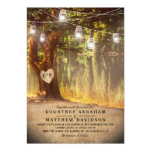 Mason Jars Rustic Tree Lake Twinkle Lights Wedding Invitations
