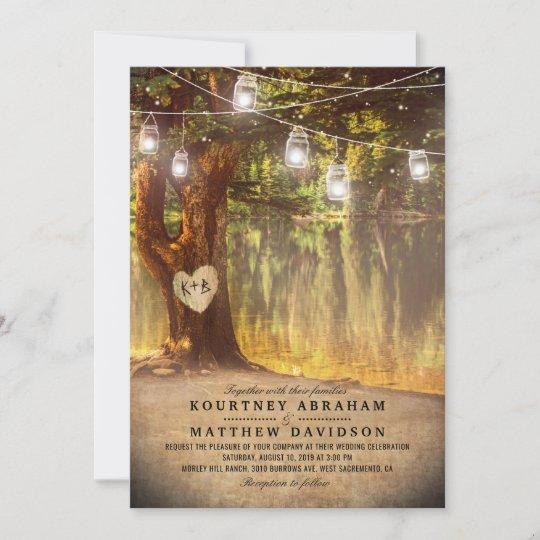 Mason Jars Rustic Tree Lake Twinkle Lights Wedding Invitation