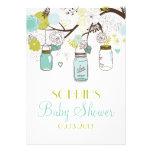 Mason Jars & Spring Flowers Baby Shower Invitation