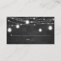 Mason Jars String Lights Chalkboard Place Cards