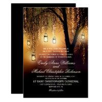 Mason Jars String Lights Elegant Rustic Wedding Invitation
