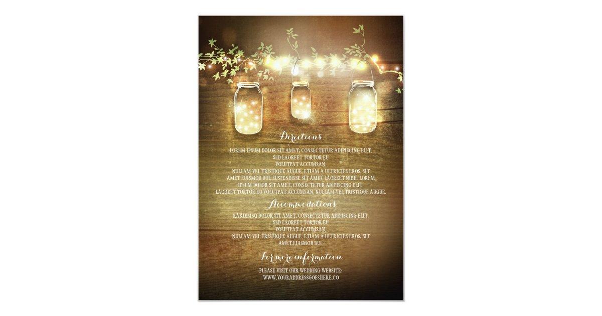 Mason Jar String Lights Kirklands : Mason Jars String Lights Wedding Information Cards Zazzle