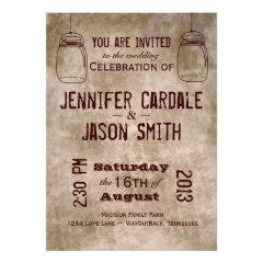Mason Jars Vintage Country Wedding Invitations