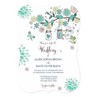 "Mason Jars Wedding Invitation | Wedding Invitation 5"" X 7"" Invitation Card"