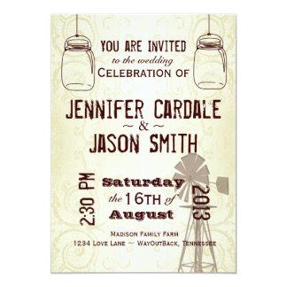 Mason Jars Windmill Country Wedding Invitations