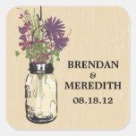 Mason Jars with Autumn Wildflowers Square Sticker