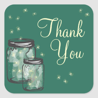 Mason Jars with fireflies Thank You Square Sticker