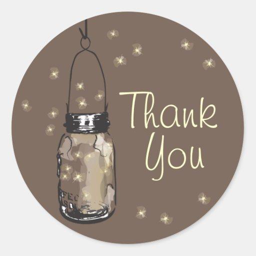 Mason Jars with Fireflies Thank You Sticker