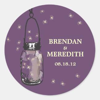 Mason Jars with fireflies Wedding Classic Round Sticker