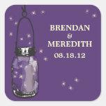 Mason Jars with fireflies Wedding Square Sticker