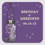 Mason Jars with fireflies Wedding Square Stickers