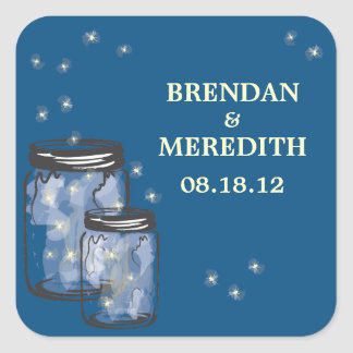 Mason Jars with fireflies Wedding Sticker