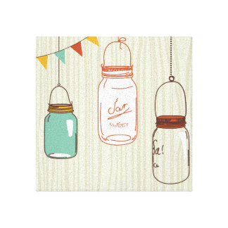 Mason Jars with wood background Canvas Print