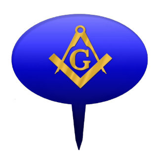 Mason Masonic with Gradient Blue Cake Topper