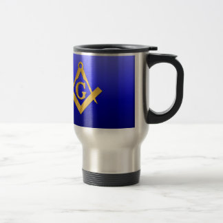 Mason Masonic with Gradient Blue 15 Oz Stainless Steel Travel Mug