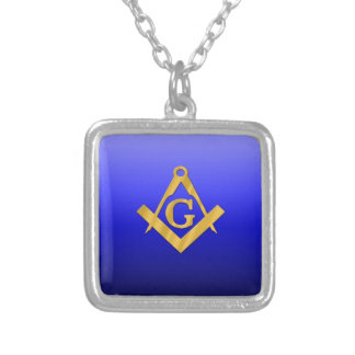 Mason Masonic with Gradient Blue Silver Plated Necklace
