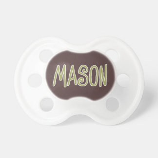 Mason Name Green and Brown Baby Pacifier