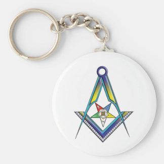 Mason OES Basic Round Button Keychain
