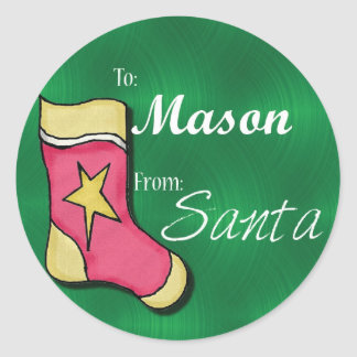 Mason Personalized Christmas Label Classic Round Sticker