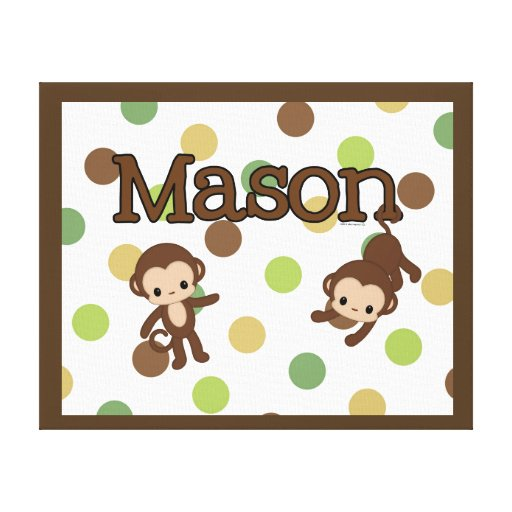 mason personalized monkey wall art name canvas stretched. Black Bedroom Furniture Sets. Home Design Ideas
