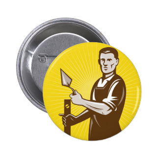 mason plasterer construction worker pinback button