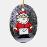 Mason Santa in the snow Double-Sided Oval Ceramic Christmas Ornament