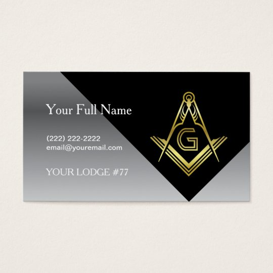 Masonic business card designs black gold silver zazzlecom for Masonic thank you cards