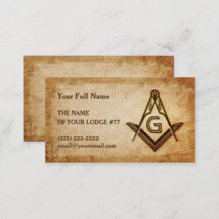 Freemason business cards zazzle masonic business card template rustic parchment colourmoves
