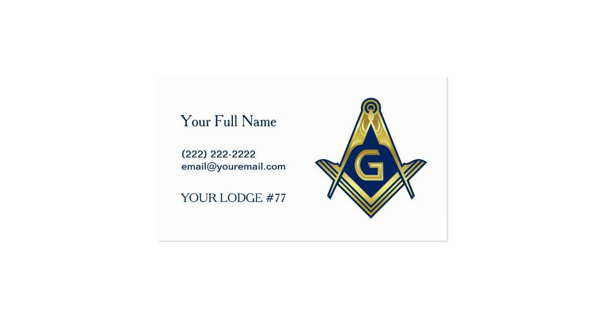 Masonic Business Cards Blue Gold Freemason Symbol