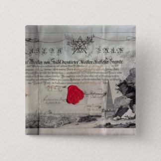 Masonic certificate, 1785 button