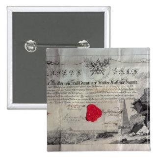 Masonic certificate, 1785 2 inch square button