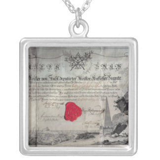 Masonic certificate, 1785 silver plated necklace