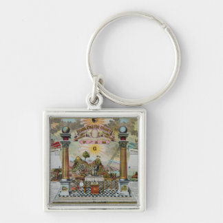 Masonic Chart 2 Silver-Colored Square Keychain