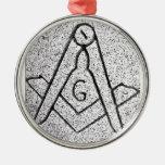 Masonic Christmas Round Metal Christmas Ornament