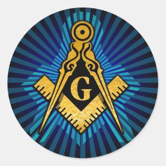 Masonic Compass and Square Classic Round Sticker