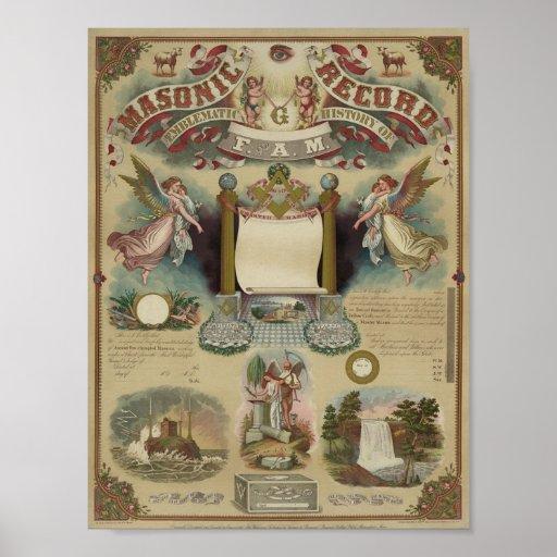 Masonic Diploma Certificate Poster