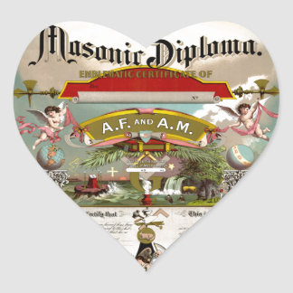 Masonic Diploma circa 1890 Heart Sticker