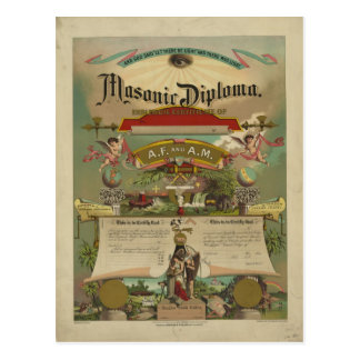Masonic Diploma Freemason Freemasonry 1891 Postcards