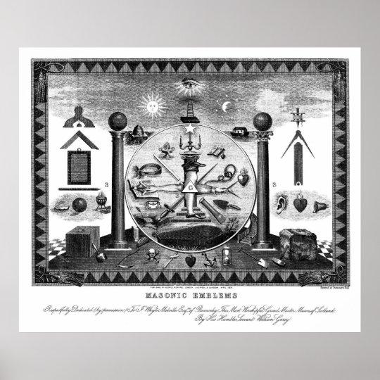 Masonic Emblems Chart from 1874