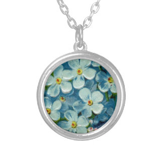 Masonic Freemason Forget-Me-Nots Silver Plated Necklace