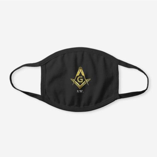 Masonic Gold Square Compass | Monogram Freemason Black Cotton Face Mask
