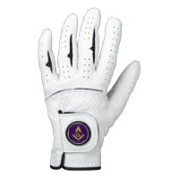 Masonic Golf Gloves | Purple & Gold Square Compass